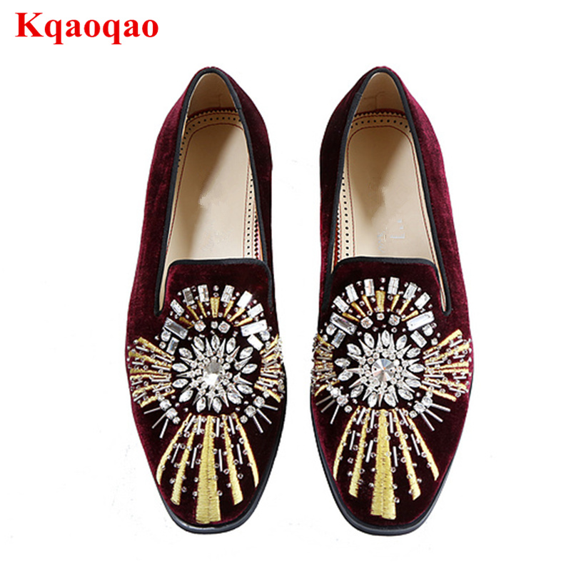 Men Loafers Glitter Crystal Embellished Embroidered Men Casual Shoes Low Top Brand Runway Shoes Low Heel Slip On Smoking Shoes деловой костюм effects of color 044