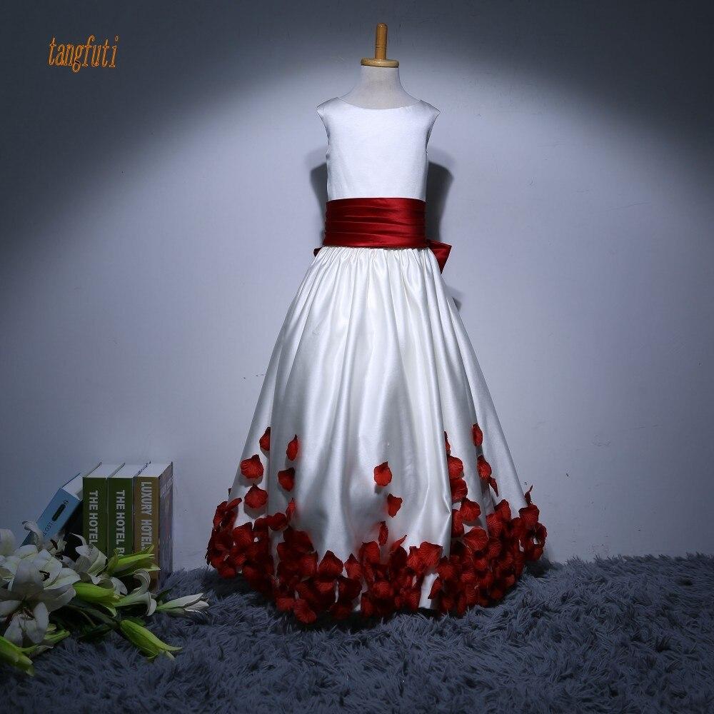 Long   Flower     Girl     Dresses   With Bow Sation A Line Petals Children's   Dress
