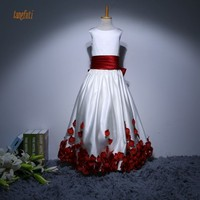 Long Flower Girl Dresses With Bow Sation A Line Petals Children S Dress