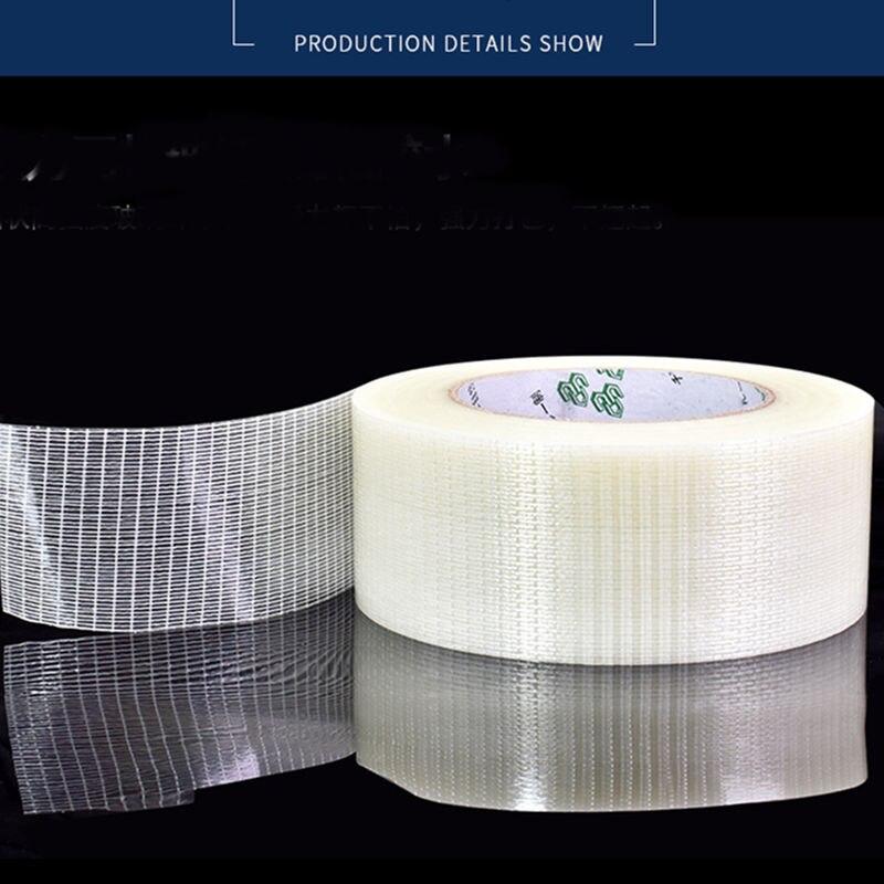1pcs 5-20mm Width *25M Grid Glass Fiber Tape Transparent Mesh Fiber Tape Width Mm  Strong Single-sided Tape
