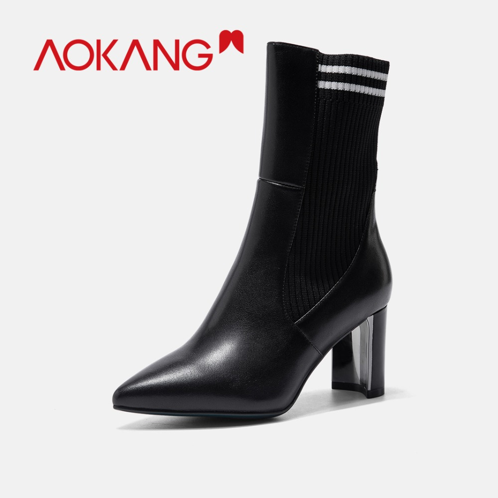 À Talons Nouveauté Épais Chaussures Tissu Femmes En Extensible Zipper Pour Dames Black184911011 Bottes Cuir Tricoté Hauts Véritable Femme Aokang 6ZBHqwxq