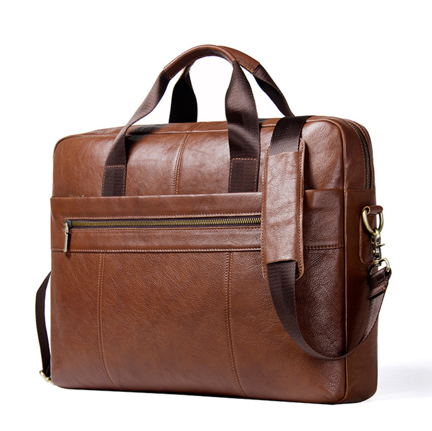 2018 New Arrival Genuine Leather Man Briefcase For 15.6 Inch Laptop Men's Crossbody Bags Large Business Shoulder Bag For Male jacodel business large crossbody 15 6 inch laptop briefcase for men handbag for notebook 15 laptop bag shoulder bag for student