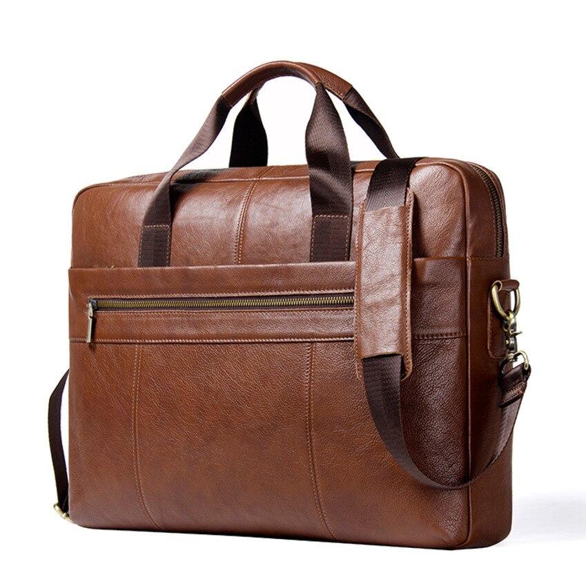 2019 새로운 도착 정품 가죽 남자 서류 가방 15.6 인치 노트북 남자 crossbody 가방 남자에 대 한 큰 비즈니스 어깨 가방-에서서류 가방부터 수화물 & 가방 의  그룹 1
