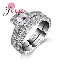 Jexxi 925 Серебряное кольцо Наборы для ухода за кожей с полной белый Высокое качество CZ Кристалл для Для женщин/Обувь для девочек Шарм ювелирных изделий с из 2 предметов оптовая продажа