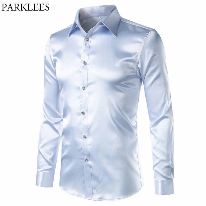 8d6a2545c Smooth Silk Satin Shirt Men Slim Fit Long Sleeve Shiny Silver Dress Shirts  Mens Weedding Club