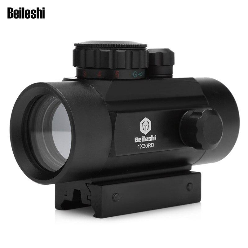 Outlife caza óptica alcance 1X30 holográfica Riflescope rojo verde punto vista táctica 20mm aire Rifle alcance para caza Airsoft