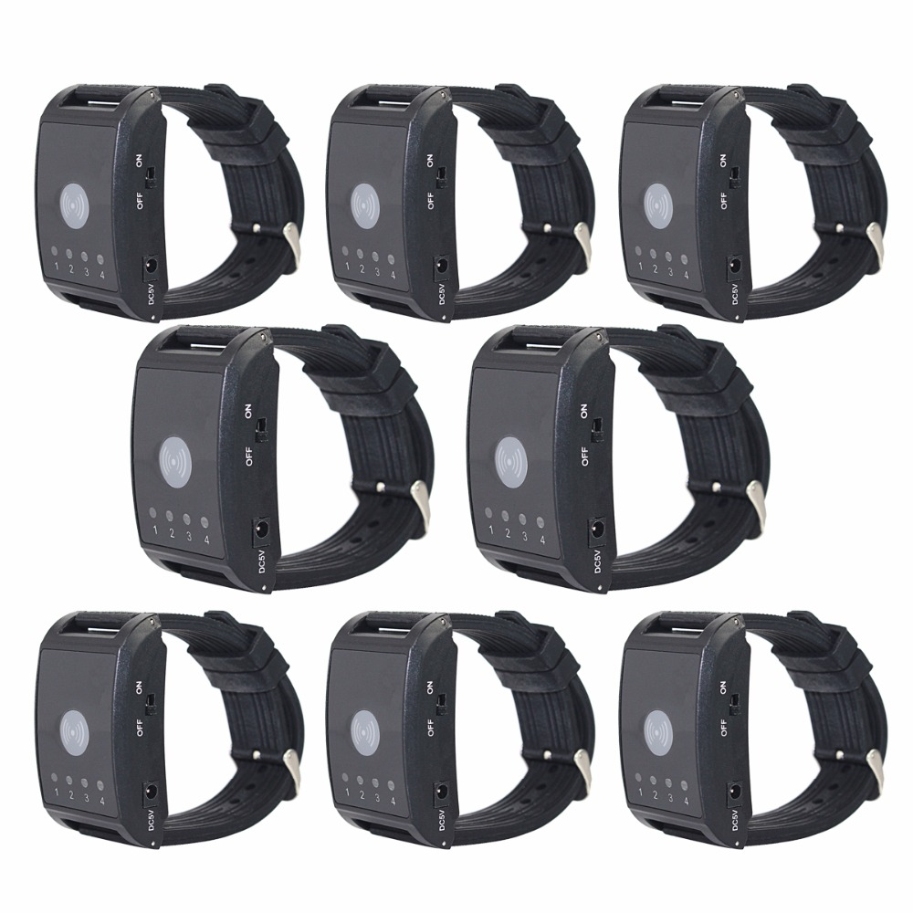 8Pcs 433MHz Wireless Watch Calling Receiver for Hospital Waiter Nurse 4 Channel Call Pager Paging System  F4411A wireless pager waiter calling paging system call pager 2pcs wrist watch receiver 8pcs call transmitter button 433mhz f3258