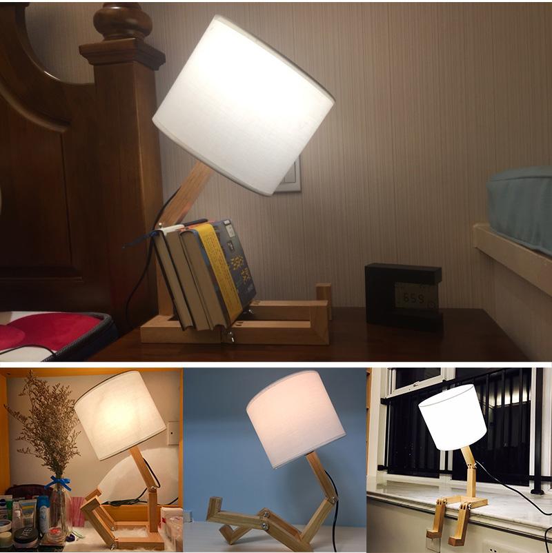 Nordice Modern Creative Gifts Foldable Robot Desk Table Lamps Wooden Base Table Lamp Bedside Reading Desk Lamp Home Decor Light Fixture (15)