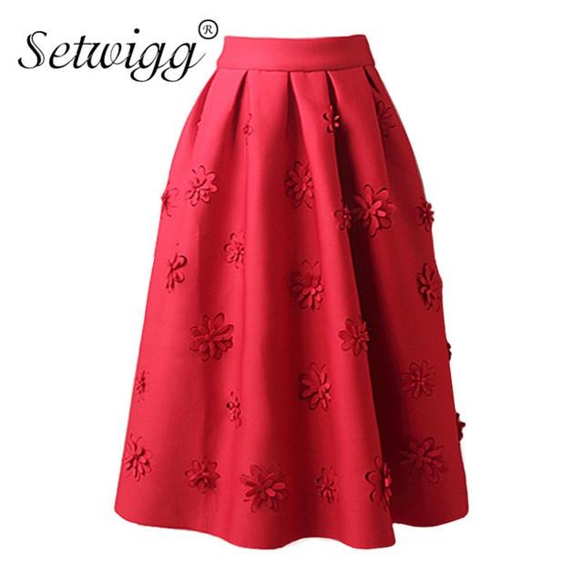 0ecc1f0a71 SETWIGG Autumn Scuba Puff Pleated Midi Skirt High Waisted Embossing Dobby  Floral Elegant A-line