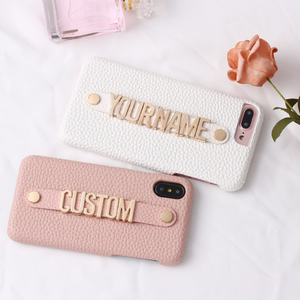 Image 3 - Holding Strap Metal Personalization Pebble Grain Leather Phone Case Cover For iPhone 12 11 Pro Max XS Max XR 7 7Plus 8 8Plus X