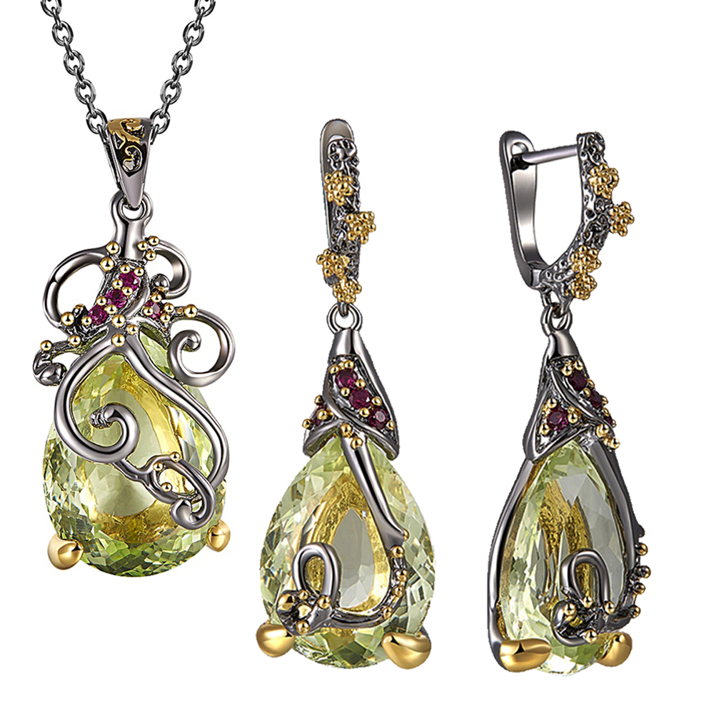 Beautiful Neaklace/Earrings 2pc Set Big Tea drop Olivine Stone Jewelry Sets Color Crystal Party Jewellery for Women(China)
