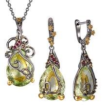 Beautiful Neaklace/Earrings 2pc Set Big Tea drop Olivine Stone Jewelry Sets Color Crystal Party Jewellery for Women