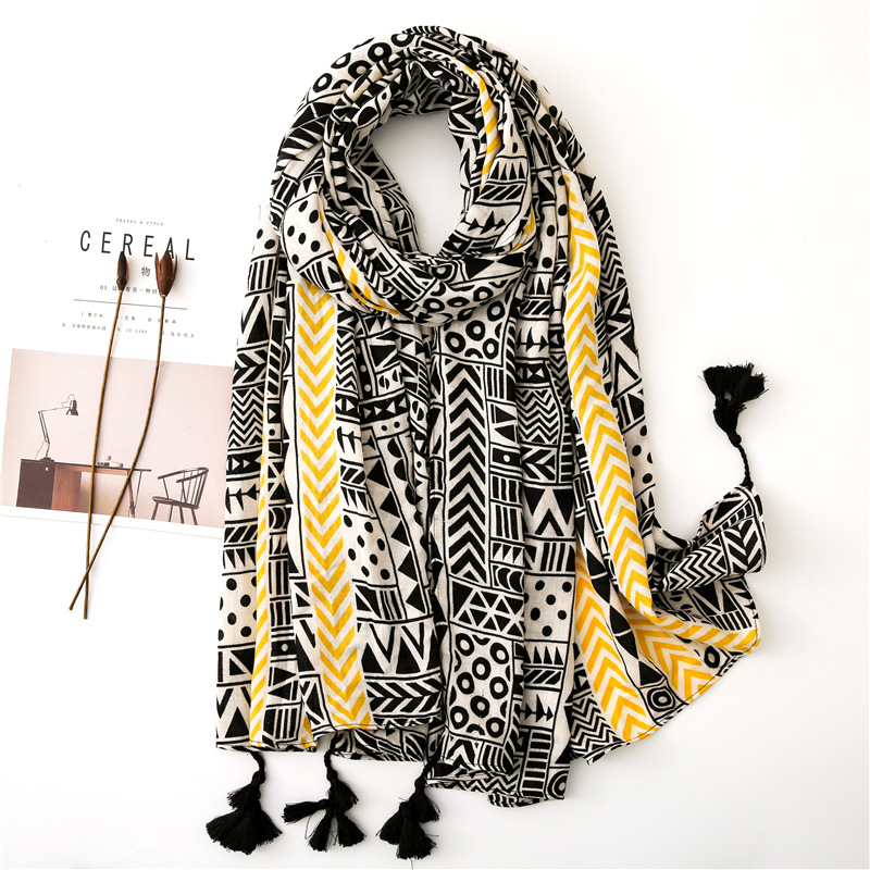 Women Cotton Large Foulard Floral Vine Winter Warm Scarves For Female Navy Color Soft Blanket Wrap Long Shawl [3503]