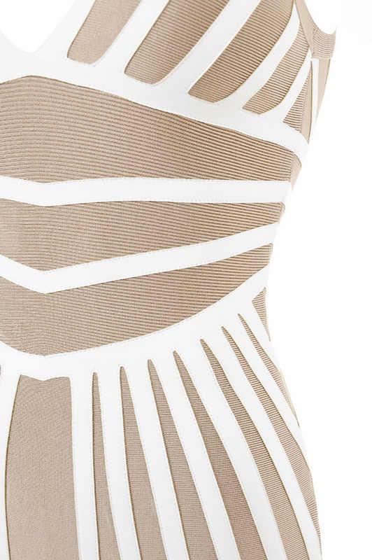 Облегающее мини полосатая повязка Платья вечерние без рукавов Глубокий v-образный вырез платье Leger Babe 2019 Лето Новое поступление Женская одежда FH56