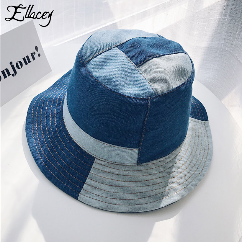Ellacey 2018 Summer Harajuku Denim Jeans Bucket Hat Patchwork Fishing Hat  Cool Hip Hop Panama Men Women s Caps Washed Cloth Cap-in Bucket Hats from  Apparel ... fb862c8c948