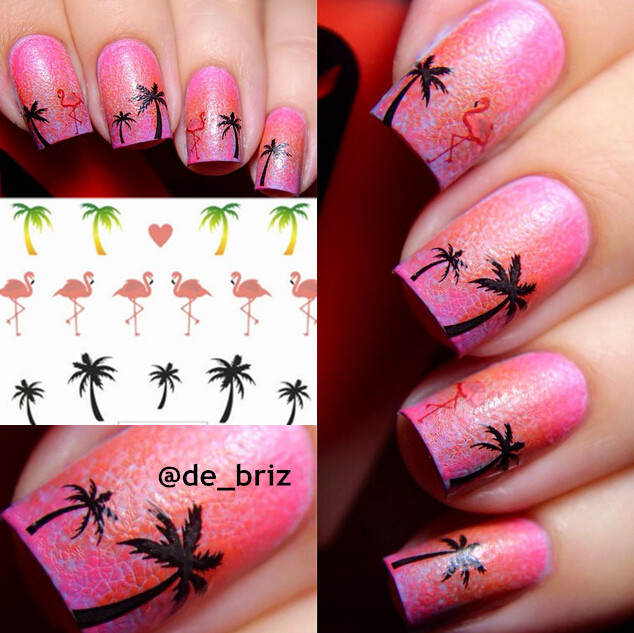 1 Sheet Hawaii Palm Tree Nail Art Water Decals Flamingo Design Transfers Stickers In From Beauty Health On Aliexpress