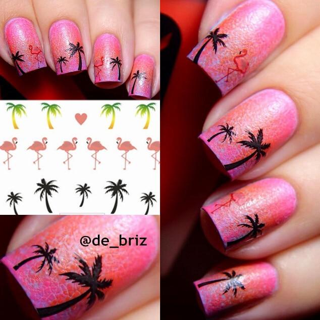 1 Sheet Hawaii Palm Tree Nail Art Water Decals Flamingo Design ...