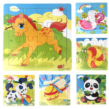 Wooden Animal Model Jigsaw Toys Kids Baby Boy Girl Early Education Learning Training Puzzles Toys wholesale JE15#F(China)