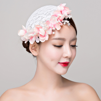 Bride studio photo headdress lace flower hat women hair ornaments wedding dress accessories women fasinator hat Hair Clip image