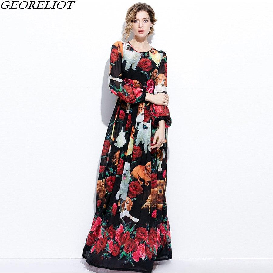 High Quality Long Maxi Dress 2018 New Spring Women Brand Fashion Runway Dresses Vintage Print Party Dress Vestidos De Festa