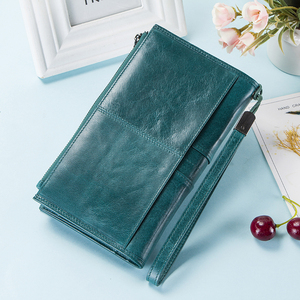 Image 3 - Contacts Genuine Leather Woman Wallets Zipper Coin Purse Female Long Clutch Money Bag For Cellphone Large Capacity Carteira