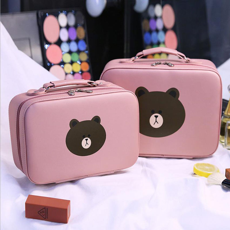 New 19 Korean Version Of The Bear Cosmetic Bag Portable Large-capacity Storage Bag Simple Compact Cute Portable Cosmetic Case