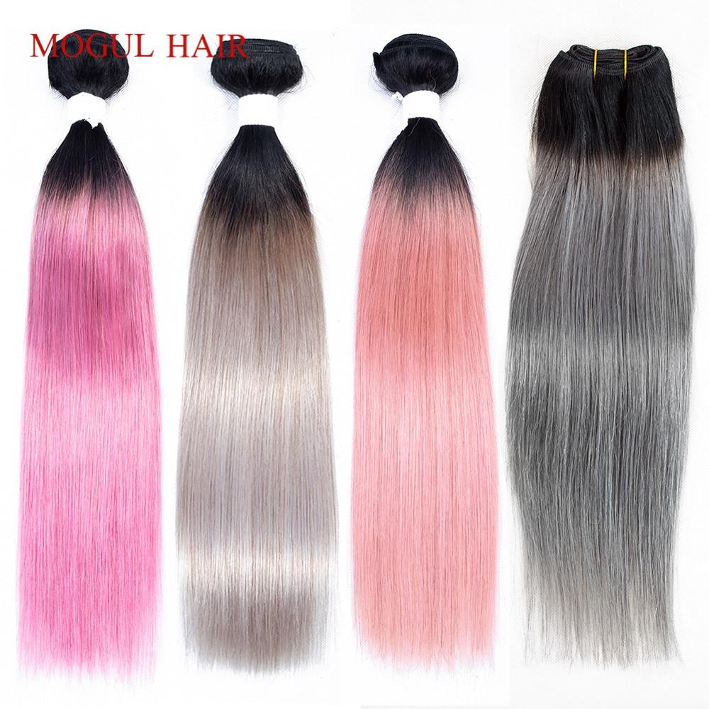 MOGUL HAIR Ombre 1B Grey Pink Straight Hair Weave Bundles Brazilian Hair 1 pcs Non Remy Human Hair Extension 10 18 inchHair Weaves   -