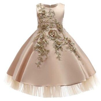 Vestidos infantiles para niñas, vestido de fiesta para verano del 2020, princesa elegante vestido de, Vestidos de lujo bordados, vestido de desfile