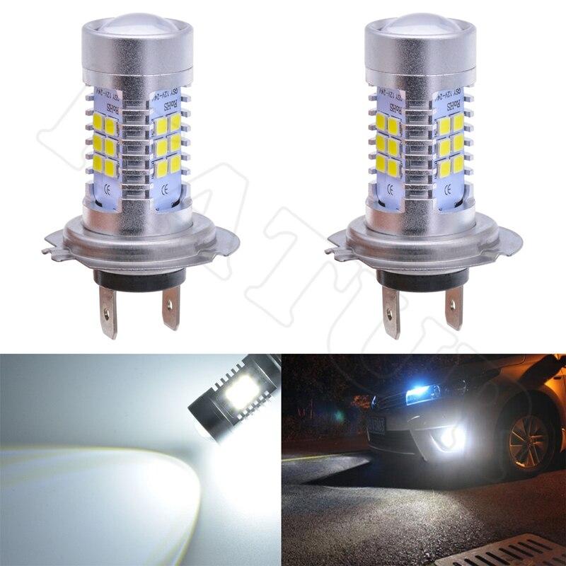 2017 New Arrival 2x H7 Car Led Light 2835 Chip 21 SMD Surper Bright Led Car Fog Light Daytime Driving DRL Led Light Bulb