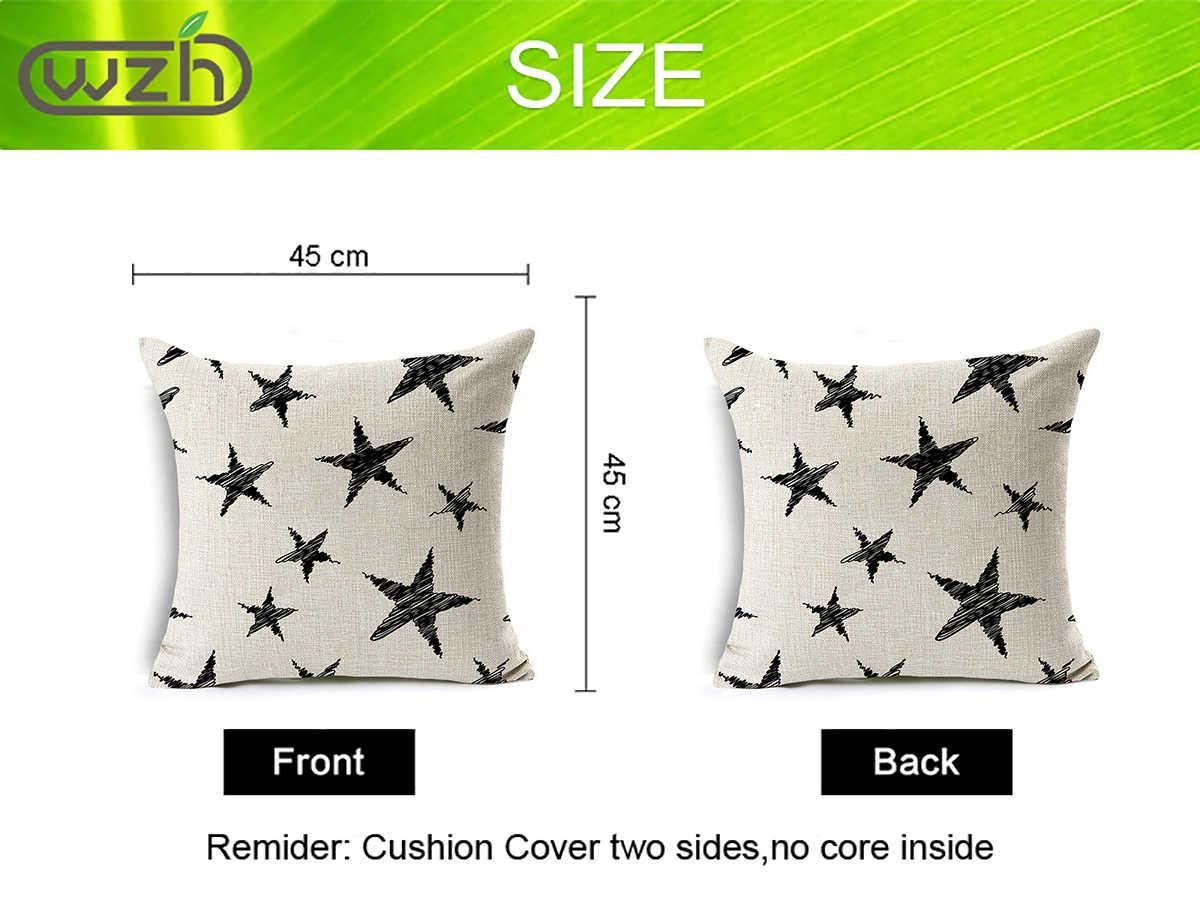 Wzh Hitam Putih Gaya Modern Bantal Penutup 45 Cm X 45 Cm Linen Dekoratif Bantal Cover Sofa Bed Bantal Case