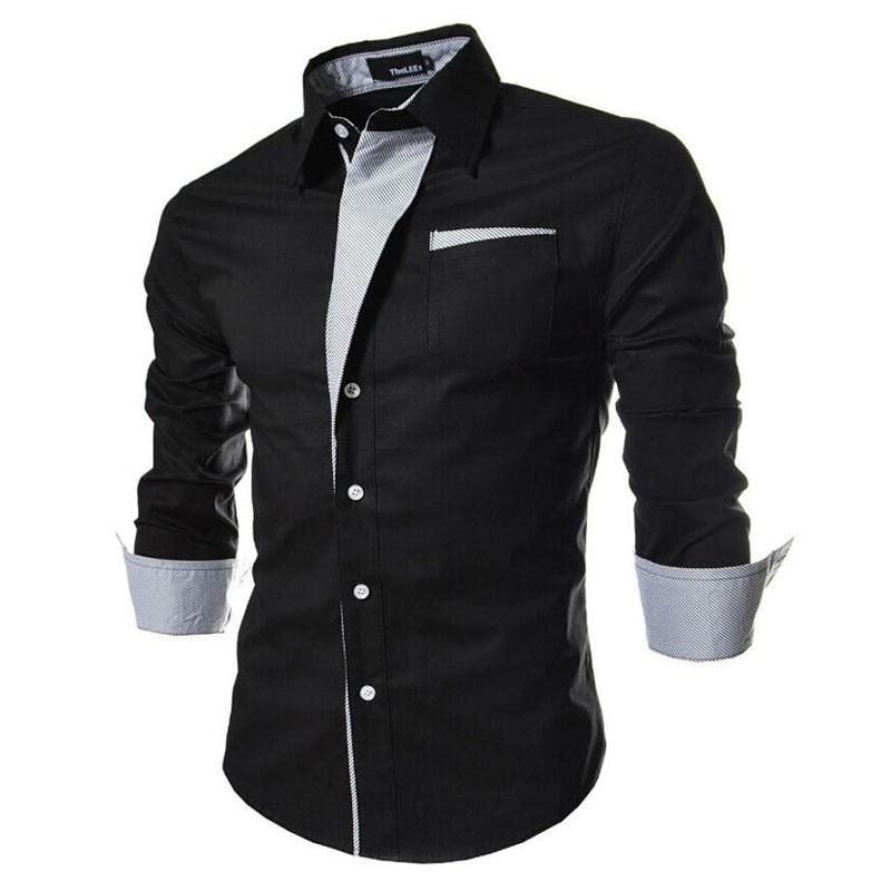 2017 new brand long sleeve shirts social male 5 colors slim fit  striped shirts plus size 3xl mens dress shirts 1