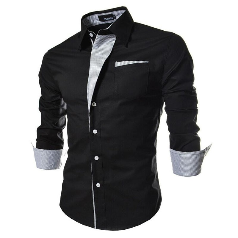2017 new brand long sleeve shirts social male 5 colors slim fit striped shirts plus size 3xl mens dress shirts in Casual Shirts from Men 39 s Clothing