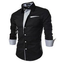 2017 new brand long sleeve shirts social male 5 colors slim fit  strip