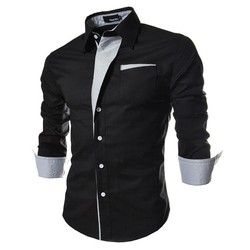 2017 new brand long sleeve shirts social male 5 colors slim fit  striped shirts plus size 3xl mens dress shirts 1