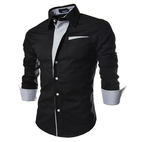 2017 new brand long sleeve shirts social male 5 colors slim fit  striped shirts plus size 3xl mens dress shirts Pakistan
