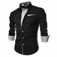 2017 nueva marca camisetas de manga larga Hombre social 5 colores slim fit rayas Camisas talla grande 3xl camisas de vestir para hombre