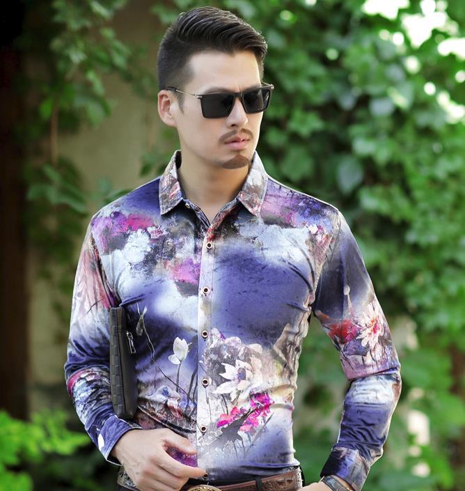 Herrenbekleidung & Zubehör Hemden Besorgt Luxus Marke Silk Floral Print Shirts Herrenmode Langarm Frühling Sommer Business Kleid Hemd Samt Shirt Drop Verschiffen GläNzende OberfläChe
