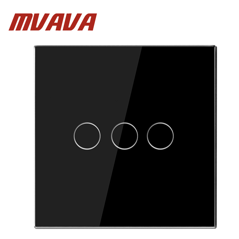 MVAVA Smart Switch 3 Gang 1 Way Black Pearl Crystal Glass Panel Remote Control EU Switch & Remote Wall Switch Free Shipping smart home eu touch switch wireless remote control wall touch switch 3 gang 1 way white crystal glass panel waterproof power