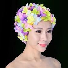 Женщины 3D Лепестки Плавание Caps Fashional Длинные Волосы Уши Большие и Нескольких Цветов Плавать Купальная шапочка