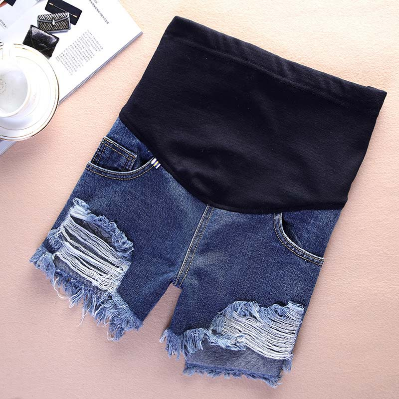 Hot Selling Summer Jeans Shorts for Pregnant Women Holes Denim Care Belly Maternity Pants Plus Size M-3XL