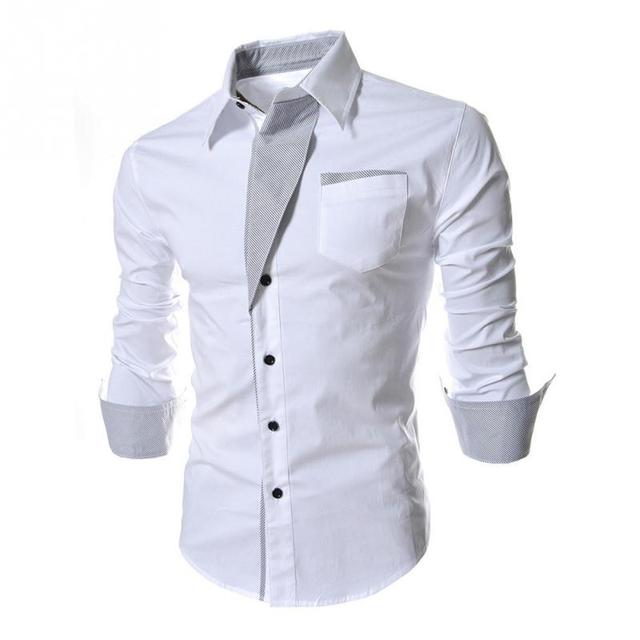 Fashion Men Dress Shirts Lapel Long-Sleeve Shirt with Stripes Assorted Colors Style Slim Shirt for young Men/youth