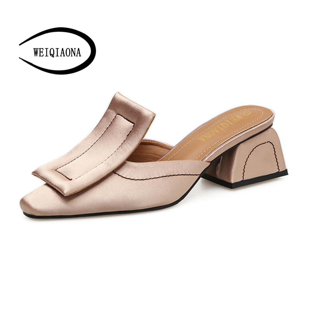 WEIQIAONA High Quality Leather Suede Slippers Women Pointed toe Big Buckle Mules Shoes Woman mid-Heels flip flop Summer Shoes meilikelin street style women slippers metal chain high heels slides shoes summer women sandals high heel flip flop mules shoes
