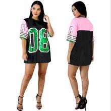 Длинная футболка с круглым вырезом и пайетками розового и зеленого цвета AKA 08 Alpha Kapp Alpha Sorority, футболка с пайетками, одежда, вечерние Клубные топы, свободная одежда