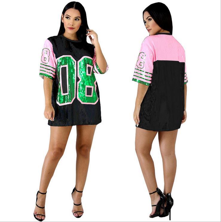 Pailletten Lange O Neck T shirt Rosa grün AKA 08 Alpha Kapp Alpha Sorority Pailletten T Shirt Kleidung Party Club top Lose Kleidung