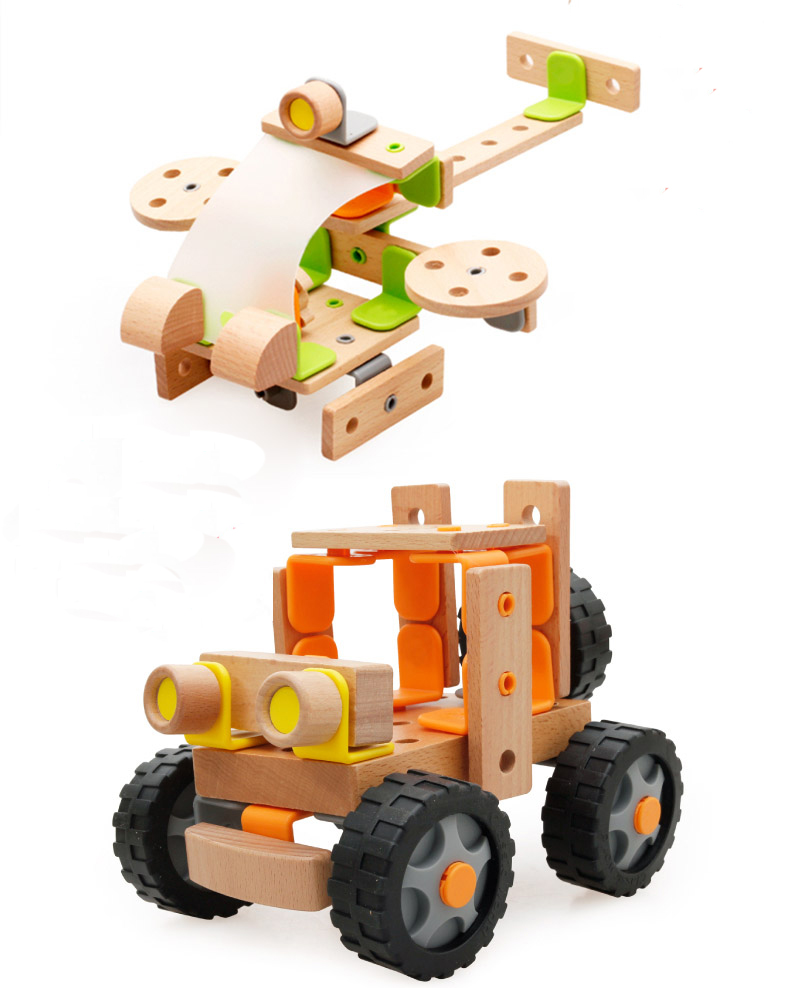 MamimamiHome Baby Wooden Toy Off-road Vehicle Helicopter Model Early Teaching Aids Assembled Toys For Children Building Blocks 2017 hot sale forest animals children assembled diy wooden building blocks toys baby toy best gift for children ht2265