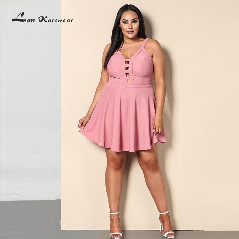 lan karwear 2018 summer dress sexy v neck strap backless v