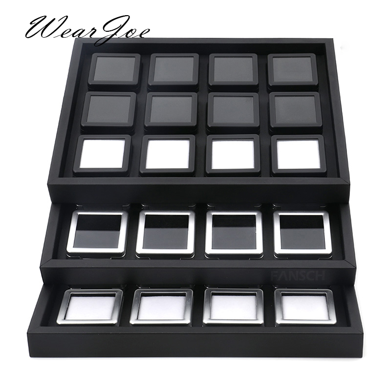 Modern Gem Stone Jar Display Box Diamond Jewelry Beads Coin Organizer Gemstone Jewellery Tray Storage Container Black PU Leather