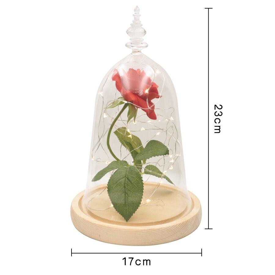 9f6d8d3d5cf Dropshipping Rosa Preservada Flor Beauty and the Beast Rose Red em Cúpula  De Vidro Base De Madeira Com DIODO EMISSOR de Luz de Decoração Para Casa em  ...