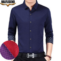 HALFLEGEND Snakeskin Small Plaid Men Formal Shirt Brand Long Sleeve Business Casual Slim Fit Big Tall