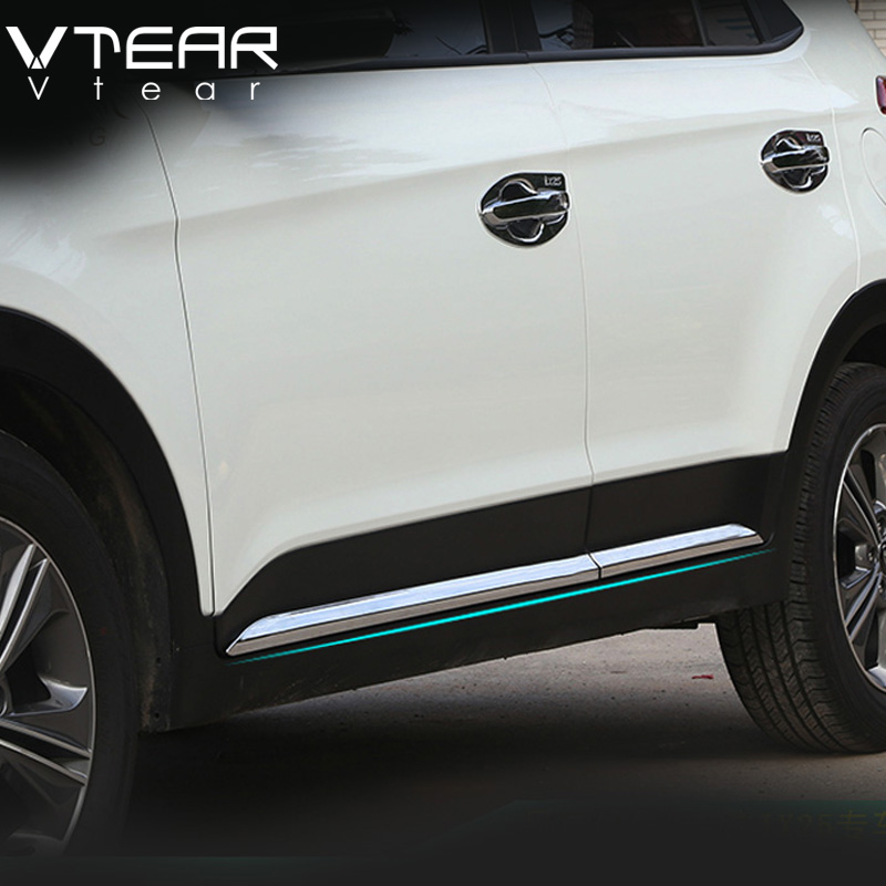 Vtear For Hyundai ix25 creta Car Door Body decoration Strip Exterior Trim Cover Chromium Styling creta product accessory 2015-18 car styling abs chrome body side moldings side door decoration for hyundai ix35